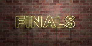 FINALS - fluorescent Neon tube Sign on brickwork - Front view - 3D rendered royalty free stock picture. Can be used for online banner ads and direct mailers.